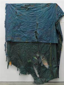 "Artist: David Hammonds, Untitled, 2014, mixed media on canvas and blue tarpaulin, 137"" x 123"
