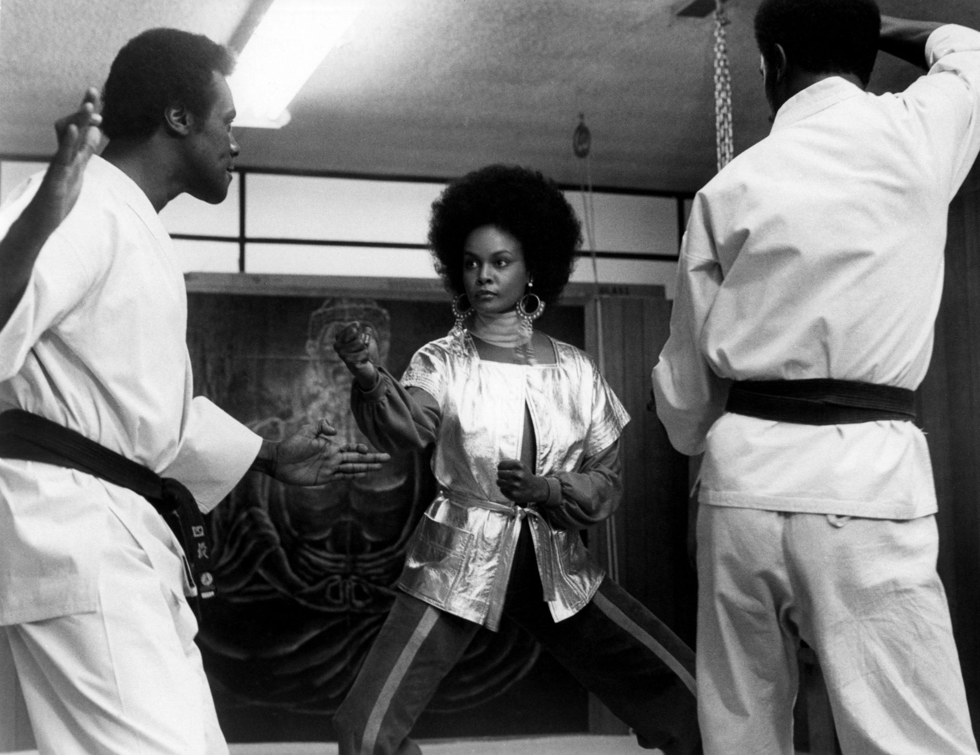 Albert Popewell, Tamara Dobson, and Caro Kenyatta in Cleopatra Jones, 1973. Directed by Jack Starrett (American, 1936–1989). Warner Bros. Film Study Center Special Collections, The Museum of Modern Art.