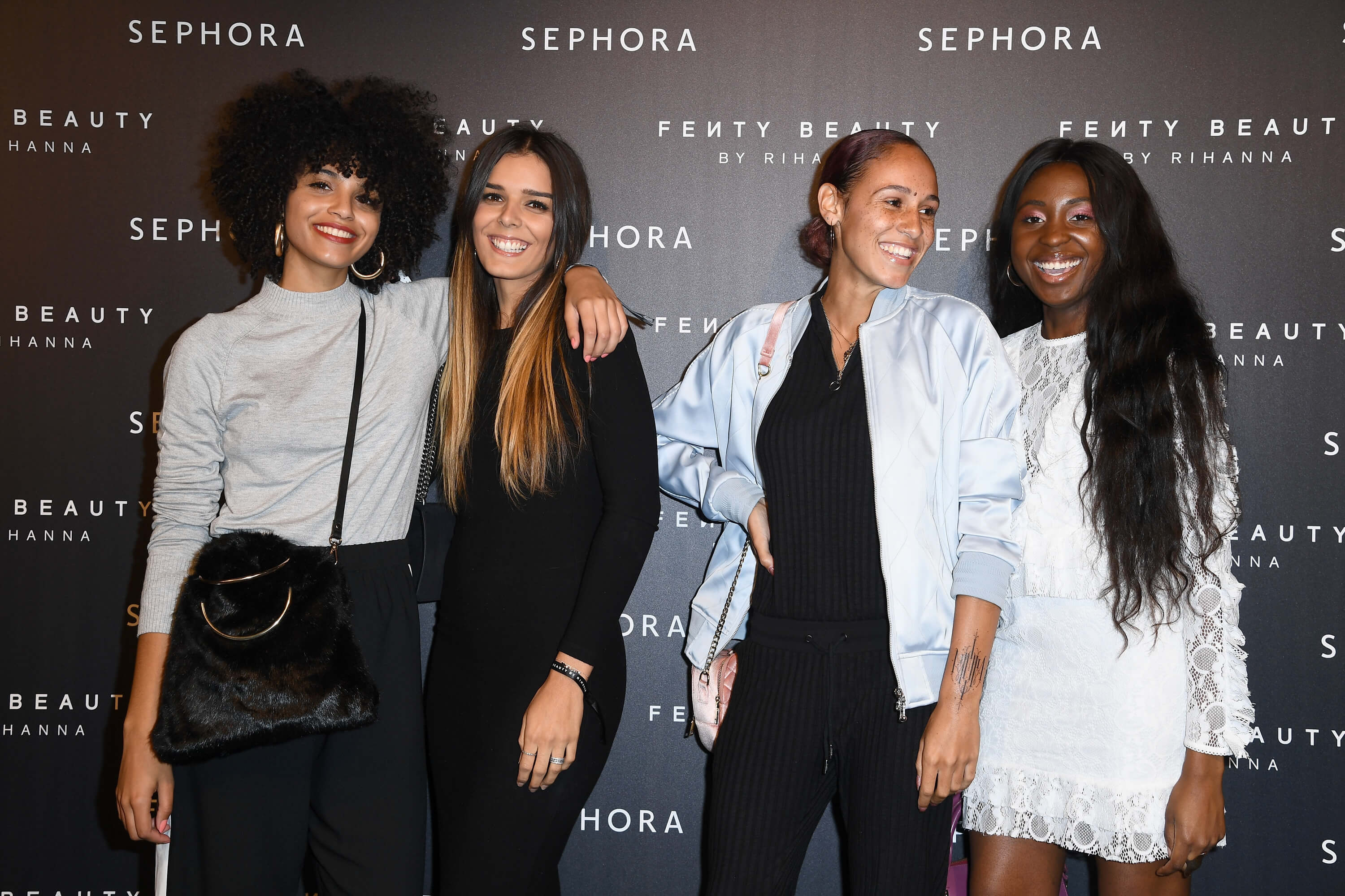 PARIS, FRANCE - SEPTEMBER 21:  (L-R)  Influencers Syanafromparis, Justinevrgr,  Herapradel and Signecatseyes  attend the Fenty Beauty By Rihanna Paris Launch Party hosted by Sephora at Jardin des Tuileries on September 21, 2017 in Paris, France.  (Photo by Pascal Le Segretain/Getty Images for Fenty Beauty) *** Local Caption *** Syanafromparis; Justinevrgr; Herapradel; Signecatseyes