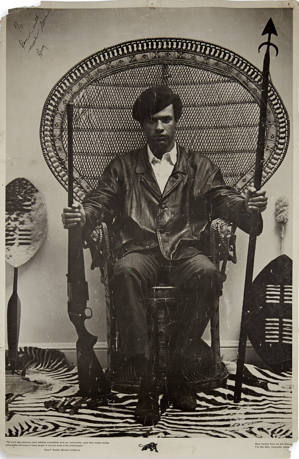 New Scholarship on Famous Black Panthers Huey Newton Poster Revealed and Poignant Letters in Swann Galleries' Printed & Manuscript African Americana Auction